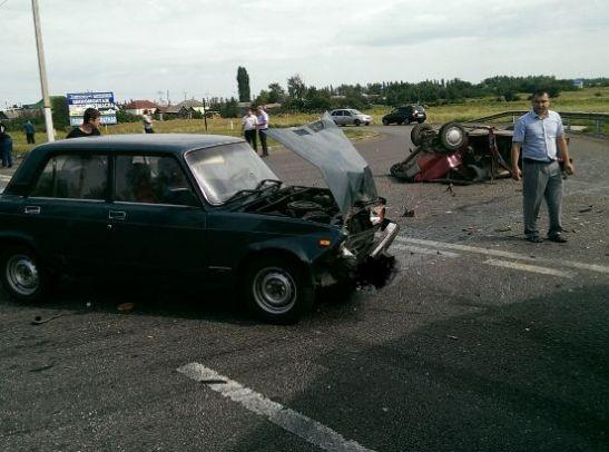 Около Воронежа лобовое столкновение вызвало отказ от четырех автомобилей